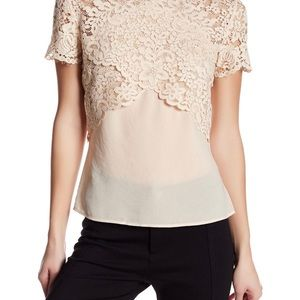 The Kooples lace peach nude voile top 1